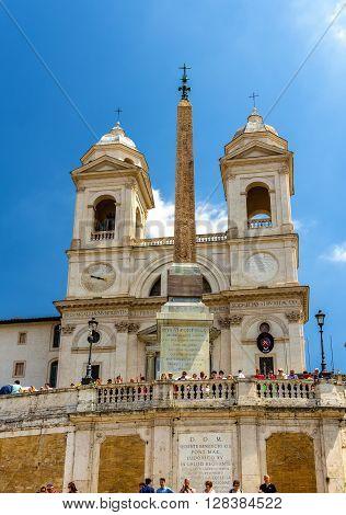 Rome, Italy - May 10, 2014: Church Trinita dei Monti, a Roman Catholic late Renaissance titular church in Rome