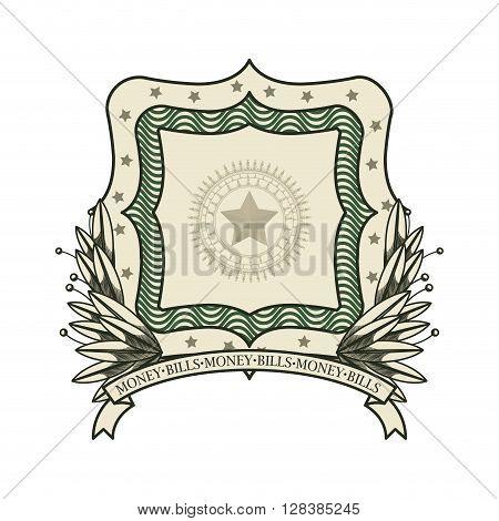 money bills emblem design, vector illustration eps10 graphic