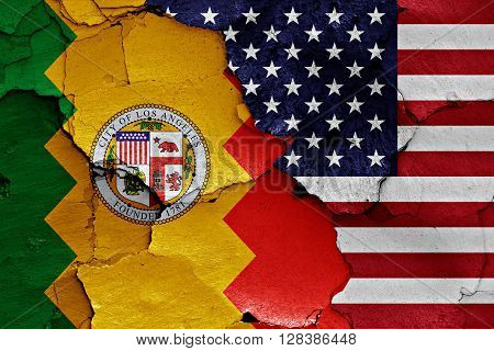 Flags Of Los Angeles And Usa Painted On Cracked Wall