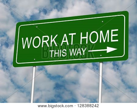 Work at Home road highway sign illustration.