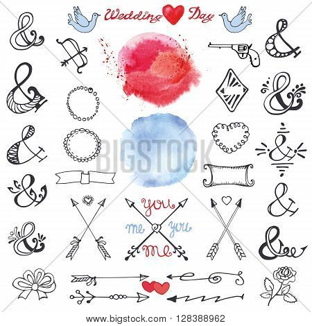 Doodles  lettering ampersands, catchwords, arrows, wedding romantic decor elements set.Watercolor stain, hand drawing sketchy vintage vector. For weddings, Valentines day, holidays.Design templates, invitations