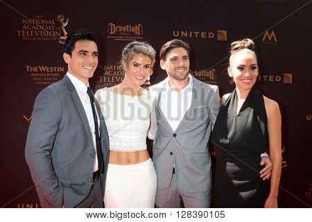 LOS ANGELES - MAY 1:  Marco James Marquez, Linsey Godfrey, Robert Adamson, guest at the 43rd Daytime Emmy Awards at the Westin Bonaventure Hotel  on May 1, 2016 in Los Angeles, CA