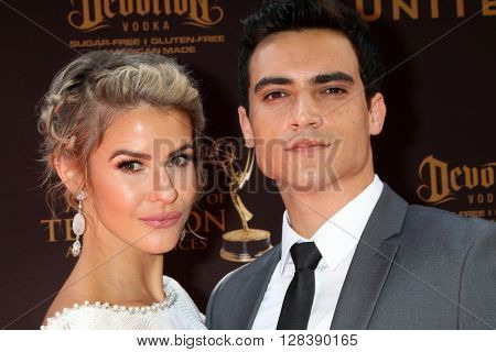 LOS ANGELES - MAY 1:  Linsey Godfrey, Marco James Marquez at the 43rd Daytime Emmy Awards at the Westin Bonaventure Hotel  on May 1, 2016 in Los Angeles, CA