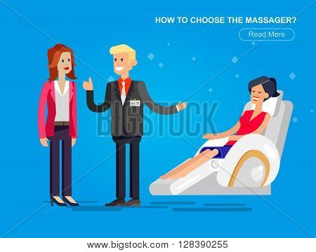 Vector detailed character seller man sells massage chair. Woman buy massager and relax, cool flat  illustration