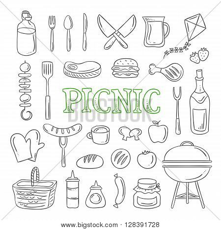Picnic icons and objects. Picnic food, drink, picnic basket, barbecue, kite. Vector outline picnic symbols