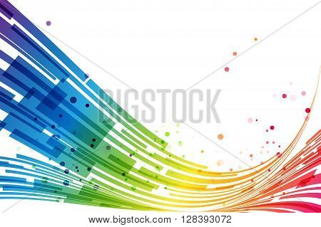 Abstract rainbow stripes on white background, rainbow design
