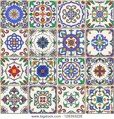 Vector seamless texture. Beautiful patchwork pattern for design and fashion with decorative elements. Set of Portuguese tiles, Azulejo, Talavera, Moroccan ornaments