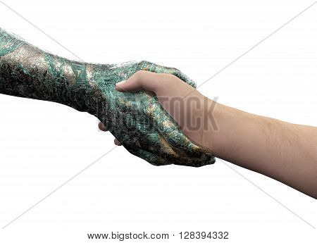 Human Hand Shaking Robot Hand Isolated On White