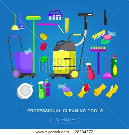Poster design for cleaning service and supplies. Vector detailed Cleaning kit icons