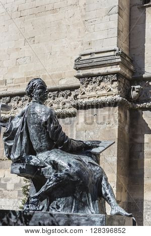 Jaen - Spain, may 2 2016: Statue sculpted in bronze of the architect Andres de Vandelvira, architect and Spanish Renaissance stonemason. Placed in the rear part of the cathedral of Jaen, take in jaen, Spain