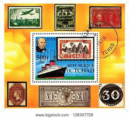 STAVROPOL RUSSIA - APRIL 05 2016: A Stamp printed in the Chad shows portrait Sir Rowland Hill (1795 - 1879) was an English teacher inventor and social reformer circa 1979