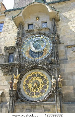 Prague Astronomical Clock on the wall of Prague Old Town Hall