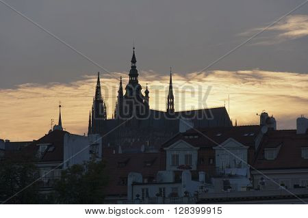 The view of Prague Castle at summer evening