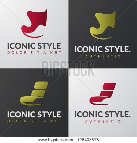 Set of furniture logo templates. Modern armchair design concepts. Lounge iconic chair sign.