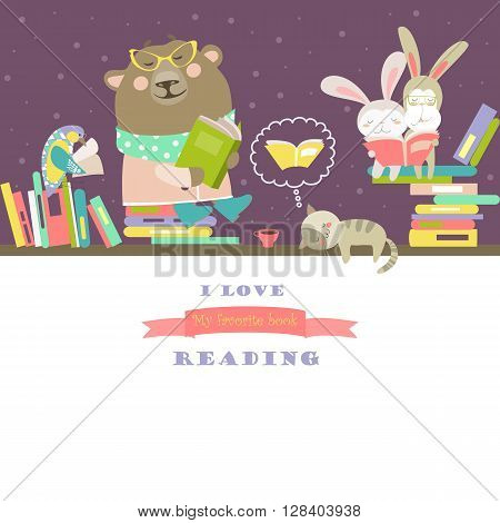 Vector cute animals reading books on bookshelves