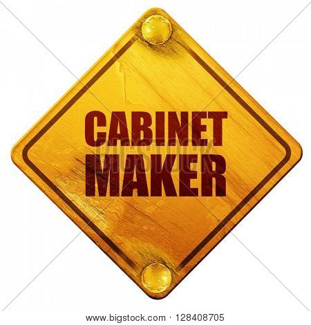 cabinet maker, 3D rendering, isolated grunge yellow road sign