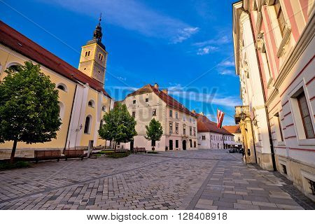 Baroque town of Varazdin street view northern Croatia