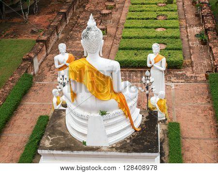 Statue Of Buddah At Temple In Thailand Ayuttaya Close To Bangkok