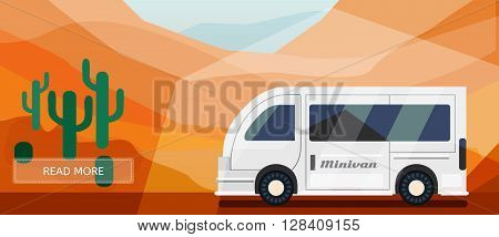 Logistic routes minivan banner. Logistics minivan banner for industry web and print. Flat style vector illustration of a minivan in desert.