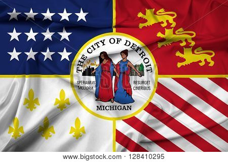 Waving Flag of Detroit Michigan, with beautiful satin background.