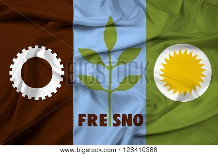Waving Flag of Fresno California, with beautiful satin background.