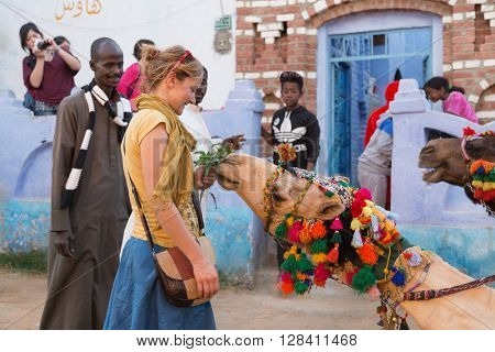 ASWAN, EGYPT - FEBRUARY 5, 2016: Tourist in Nubian village feeding camel.