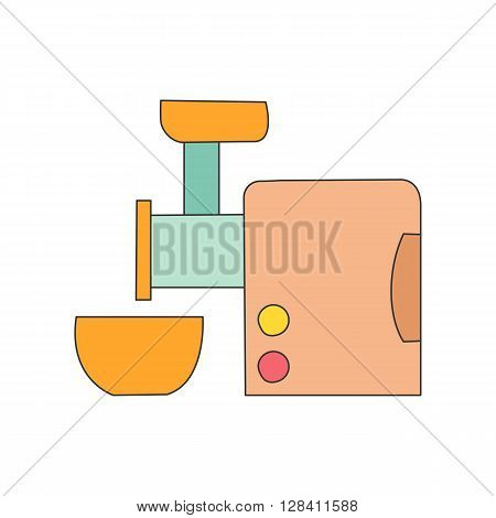 Vector illustration with cartoon line kitchen meat grinder with bowl. Cartoon indoor kitchen appliances design. Kitchen equipment for mince meat. Cartoon vector kitchen meat grinder