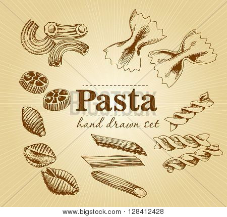 Hand drawn Italian pasta isolated set. Collection of different types of pasta. Retro line art sketch vector illustration. Pasta vector illustration. Pasta set. Hand drawn set.