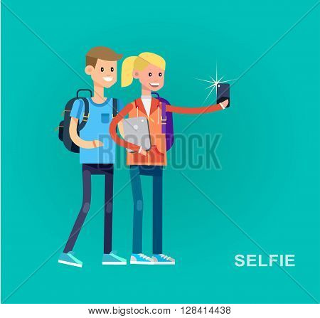 Vector detailed character flat design children students boy and girl make selfie. Kids  smiling holding Gadgets and backpacks. Primary or elementary school