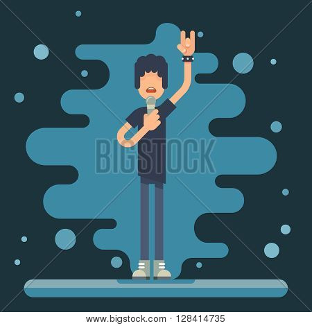 Singer performer soloist Hard Rock Heavy Folk Music Background Concept Flat Design Vector Illustration