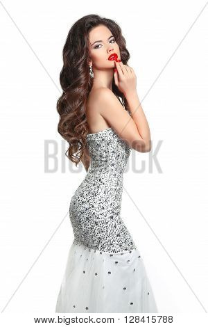 Makeup. Fashion Girl Model Dress. Beauty Glamour Style Woman In Luxury Beads Crystal Evening Dress.