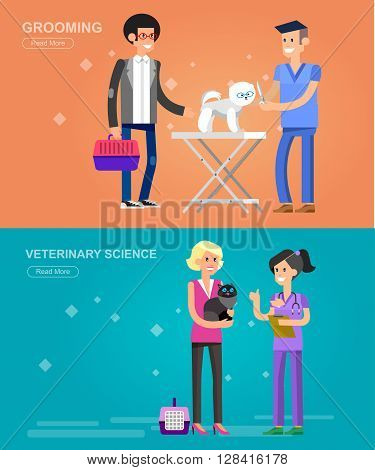 high quality character design veterinarian with dog and cat, veterinarian inspects animal, veterinary icon set, veterinarian check up visiting walker training.