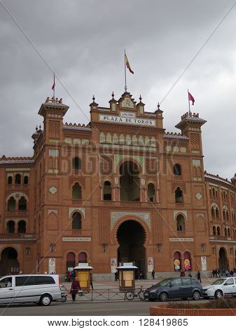 Madrid Spain - April 11 2016: Plaza de Toros de Las Ventas bullring. Madrid Spain - April 11 2016