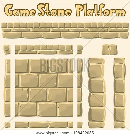 Vector nice cartoon limestone platform for games