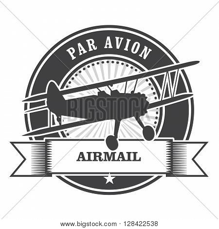 Airmail stamp with biplane - per avion