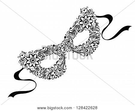 beautiful monochrome black and white mask. tattoo design or greeting card and invitation of wedding, birthday, Valentine's Day, mardi gras, mother's day and seasonal holiday