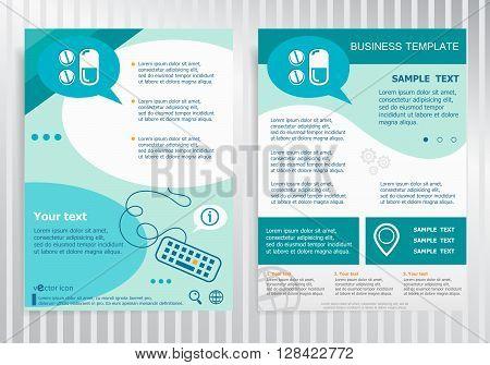 Pill Icon On Vector Brochure