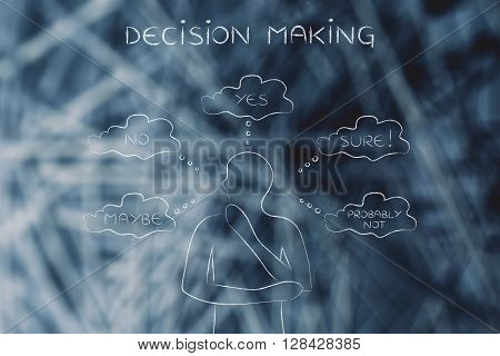 Thoughtful Man Trying To Choose, Decision Making