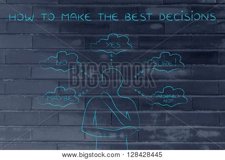 Thoughtful Man Trying To Choose, How To Make The Best Decisions