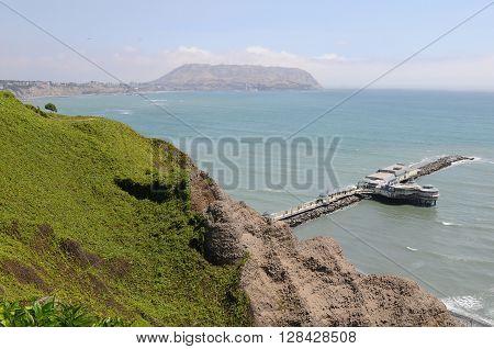 November 2010, Lima, Peru. Spectacular view at Miraflores Lima sea costline.