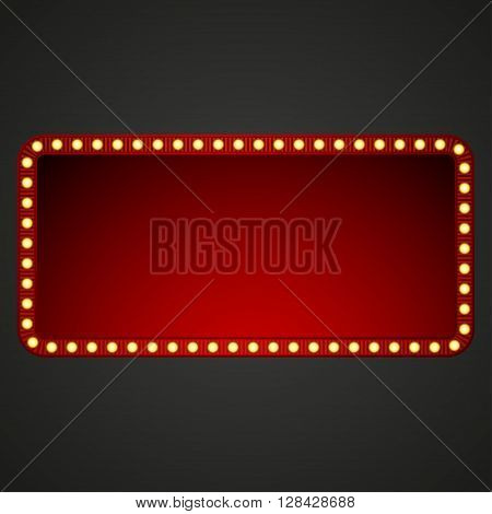 Signboard for text with light bulbs. Vector illustration