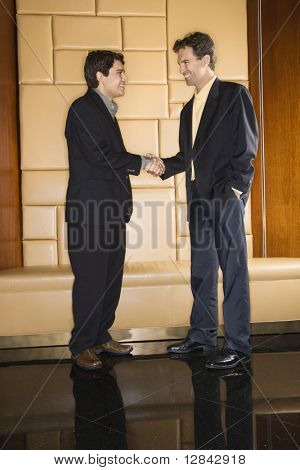 Two businessmen standing and shaking hands.