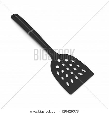 Black plastic slotted spoon on white background