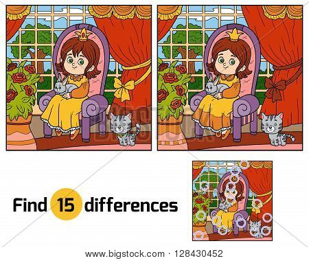 Find Differences For Children. Little Princess Sitting On A Throne In Living Room