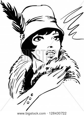 Stylish retro dramatic beautiful model for fashion design. Hand-drawn graphic illustration. Portrait of pretty woman with feathers on her head . Sketch drawing, elegant vector style.