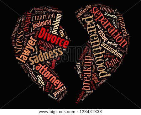 Divorce Broken Heart, Word Cloud Concept 2