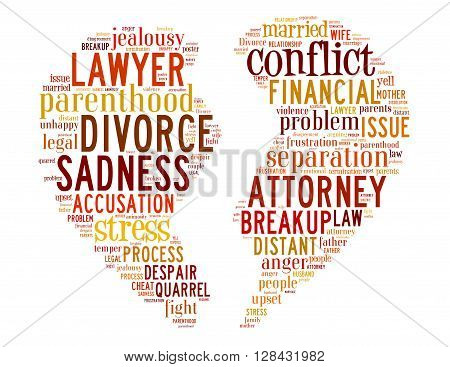 Divorce Broken Heart, Word Cloud Concept 5