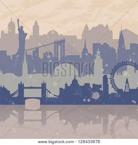 Vintage vector background about travel. Silhouettes of cities such as New York London Stockholm. Grunge hand drawn look. Travel urban poster.