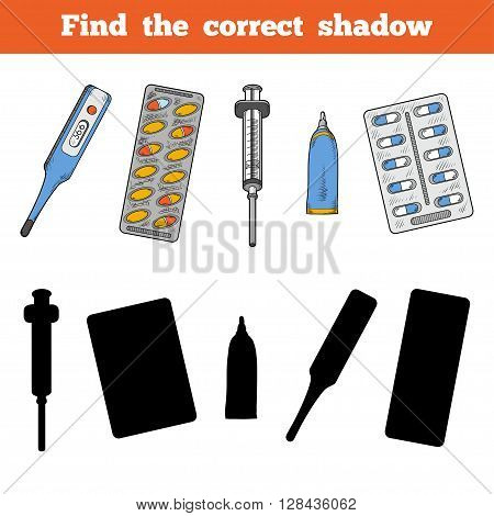 Find The Correct Shadow. Vector Color Set Of Medical Items