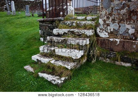 Grassy covered stairs in a grave yard